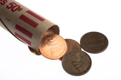 penny-roll-few-us-lincoln-pennies-spilling-cent-white-background-48530217